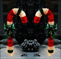 """CHRISTMAS 48"""" LIGHTED TINSEL CANDY CANES OUTDOOR YARD DECORATIONS"""