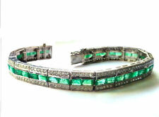 15.58 ctw Diamond and Emerald Bracelet In 14kt White Gold