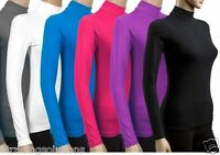 LADIES LONG SLEEVE POLO ROLL NECK TOP WOMENS TURTLE NECK PLAIN JUMPER 6-26 'Polo