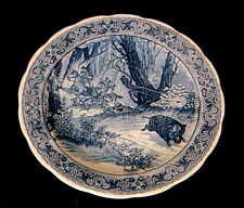 "Vintage Delft Royal Sphinx by Boch Wild Boar Hunt 12"" Wall Plate"