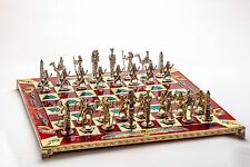 Chess Set Egyptian Brass Plated Metal Pieces Bronze-Red Enamel Board 3.5''King
