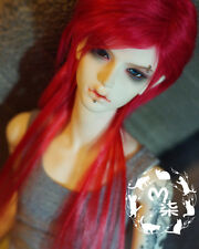 "7-8"" 18-19cm BJD doll fabric fur wig Red Extended hair for 1/4 bjd dolls"