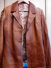 designers buttersoft 100%  leather tan camel  jacket blazer lace up sleeve 10 12