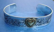 "Western Jewelry Gold Heart Cuff Bracelet Anodized Everbrite 2 5/8"" ID"