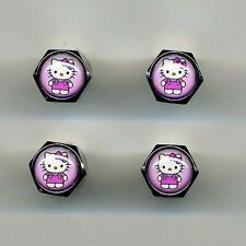 Hello Kitty 4 Chrome Plated Brass Tire Valve Caps Car&Bike Hello Kitty on Pink