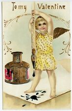 Embossed To My Valentine Ink Well Pen Gold Gilded Postcard