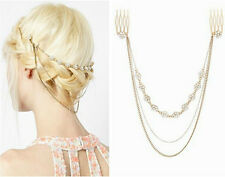 Occident Fashion Delicate Rhinestone Flower Multilayer Tassels Chain Hair Comb