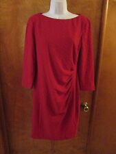 """Ladies """"Chaps"""" Size 14, Red, Side Pleated, 3/4 Sleeve, Sheath Dress"""