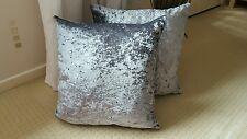 SHOP AT NEXT ? MetallicEffect SILVER GREY  Crushed Velvet 16in Cushion Cover