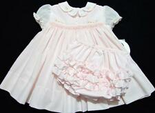 SARAH LOUISE 6M SMOCKED PINK EASTER DRESS W/EMBROIDERED BUNNIES~DIAPER COVER~NWT