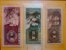 China 1980 : 10, 20, 50 cent Banknotes with folder (UNC), same no 76270133 (SOLD