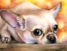"""Chihuahua"" Watercolor Dog ART Print Signed by Artist DJR"