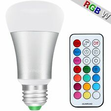 10W Daylight White and Color Ambiance A19 LED Light Bulbs RGBW Remote Control