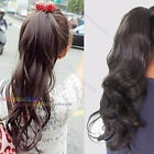 Women Long Wavy Curly Ponytail Clip Scrunchie Hair Extension Pony Wigs 3 Colors