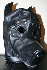 Real Leather Black Puppy Play Hood, Dog Mask, Blindfold, Zipper Muzzle, Collar