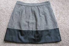 J. Crew Black & White Checks w Black Faux Leather Lined Skirt Sz 8 NWT & Lovely