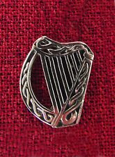Harp Celtic Gaelic Clarsach Ireland Endless Knot Irish Medieval Pewter Brooch