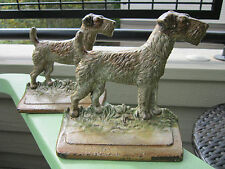 ANTIQUE ORIGINAL HUBLEY PAIR CAST IRON #294 AIRDALE FOX TERRIER DOG BOOKENDS