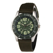 AK Military 35mm Green Men Women Army Nylon Canvas Strap Band Sport Quartz Watch