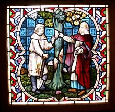 """40""""x40"""" Bible PARABLE OF THE FIG TREE Antique Leaded Stained Glass Window Church"""