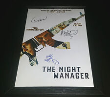 "THE NIGHT MANAGER CASTX3 SIGNED FRAMED A4 12""X8"" PHOTO POSTER TOM HIDDLESTON"