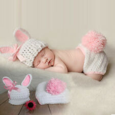 New Newborn Baby Rabbit Crochet Knit Costume Photography Outfits Suit 0-6 months
