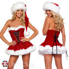 Xmas Santa Womens Ladies Miss Claus Costumes Christmas Party Fancy Dress UK 8-12