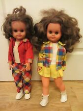 "VINTAGE UNMARKED  17"" GIRL WALKER DOLLS IN RETRO ORIGINAL OUTFITS JOB LOT"