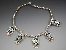 """Pierced Thunderbird Chip Inlay Sterling 15"""" Necklace Artisan Marked """"W"""""""