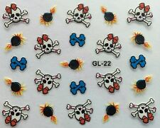 Nail Art 3D Decal Stickers Halloween Skull and Bones with Bow Fireworks GL22