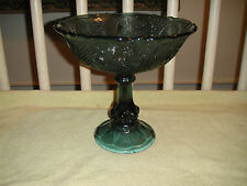 Superb Blue Green Depression Glass Stem Fruit Bowl-Intricate Etched & Cut Glass