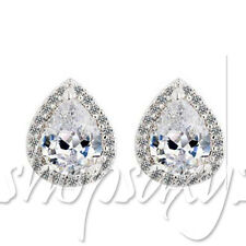 CZ CUBIC ZIRCONIA STUD TEAR DROP WATER EARRINGS WEDDING CRYSTAL FASHION JEWELRY