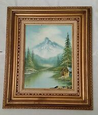 Vintage Oil Painting of Landscape Mountain and Lake 1970's Signed Kade