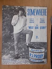 VINTAGE 1960's SHEET MUSIC - SOMEWHERE - P.J. PROBY