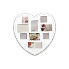 Large Heart Shaped Family 10 Aperture White Photo Picture Multi Frame Gift New
