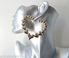 Gorgeous large gold tone oversized acrylic heart shape creole hoop earrings