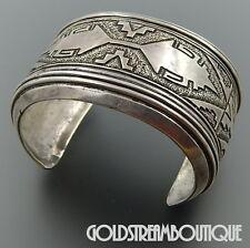 THOMAS TOMMY SINGER (d) NAVAJO 925 SILVER OVERLAY EXTRA WIDE HEAVY CUFF BRACELET