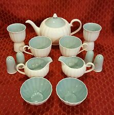 VTG 50s SUSIE COOPER ENGLAND Bone China BREAKFAST SET FLUTED WHITE/BLUE 13 PIECE