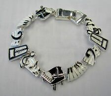 Black White Piano Keyboard Music Note Charm Bracelet With Magnetic Clasp # 34432
