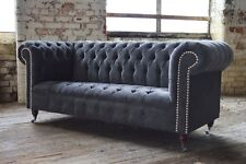 MODERN HANDMADE SLATE GREY VELVET FABRIC CHESTERFIELD SOFA CHAIR 3 SEATER