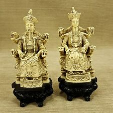 "Asian Oriental Antiqued Emperor & Queen on Dragon Throne 7"" Figurine Engraved"