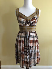 Anthropologie Crop Patterns Dress Plaid Plenty Tracy Reese Silk Extra Small XS 0