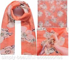 Striking Coral  Cream Large Floral Pashmina Scarf Wrap Shawl Sarong SS16 New