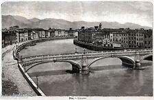 Pisa: Panorama: Lungarno.Grande Veduta.Toscana.Stampa Antica + Passepartout.1891