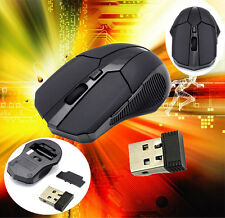 2.4 GHz Wireless Optical Mouse Mice + USB 2.0 Receiver for PC Laptop Black OE