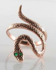 LOVELY  9CT SOLID ROSE GOLD EMERALD EYES COILED SNAKE RING FREE RESIZE