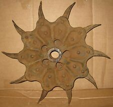 DUNHAM ANTIQUE IRON METAL ROTARY WHEEL GARDEN FARM YARD ART FLOWER  DAISY
