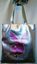 PLAYBOY Large Silver & Pink Soft Flat Handbag Tote Shopper Purse Authentic