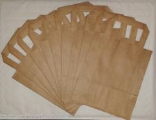 10 x Medium Brown Paper Picnic Packed Lunch Carrier Bags & Handles