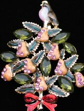 BIRD 12 DAYS OF CHRISTMAS TREE PARTRIDGE IN A PEAR TREE PIN BROOCH JEWELRY 2""